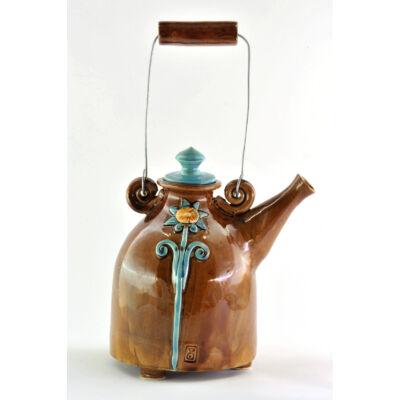 Barna kerámia teáskanna kék virággal