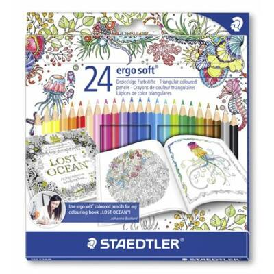 """STAEDTLER """"Ergo Soft"""" Johanna Basford limted.háromszögletű színesceruza készlet 24db"""